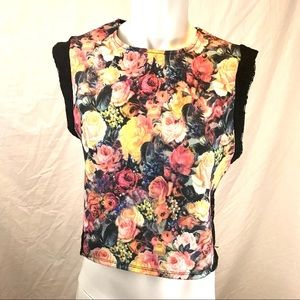 Zara Trafaluc Floral and Lace Sleeveless Crop Top